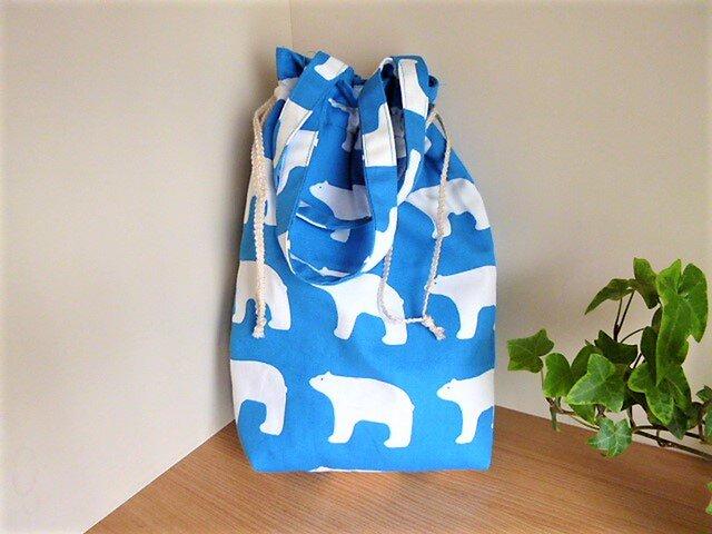 保温保冷シート付き巾着型エコバッグ(シロクマ)の画像1枚目