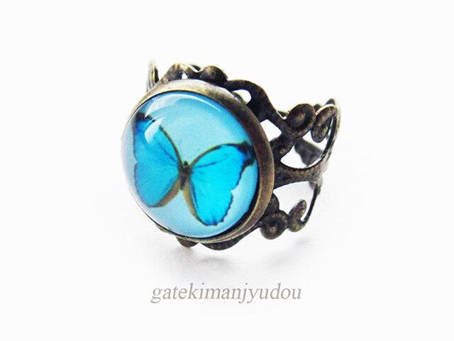 青い蝶の指輪の画像1枚目