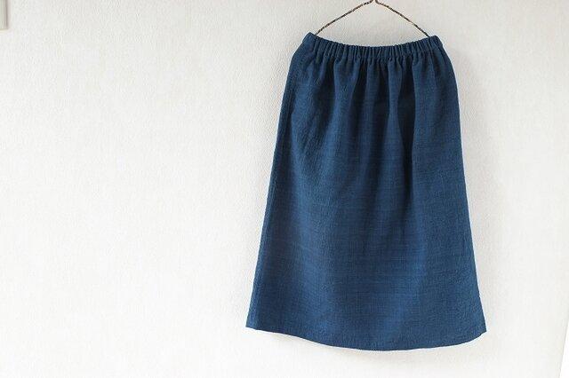 腰機手織り布テヌンに浅間の藍、素直なスカートの画像1枚目