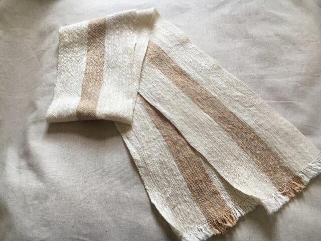 手織り 汗取り 日除け防止に コットンマフラー  胡桃染め1本ライン 送料無料の画像1枚目