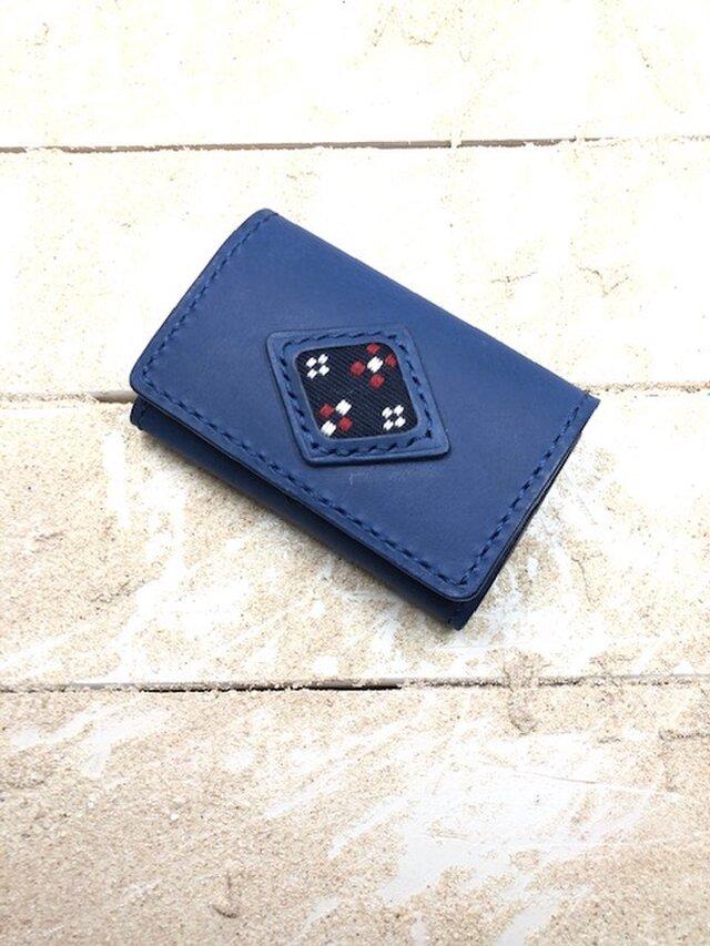 革の名刺&カードケース ネイビー×ネイビー 知花織り 紺 (織物ダイヤシリーズ)の画像1枚目