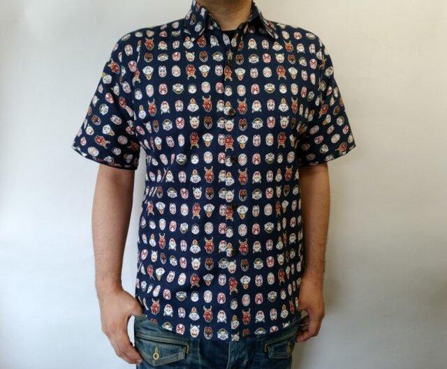 半袖和柄シャツ(能面図)の画像1枚目