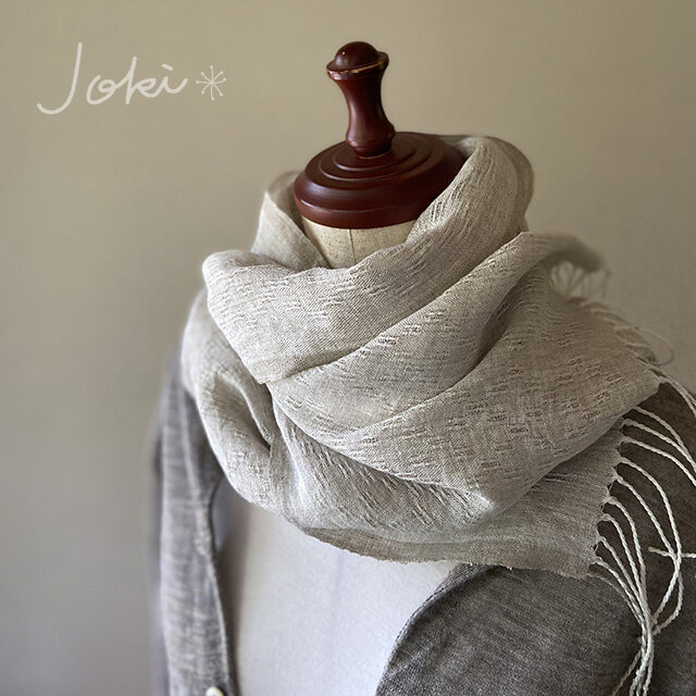 shawl[手織りリネンショール] ベージュの画像1枚目