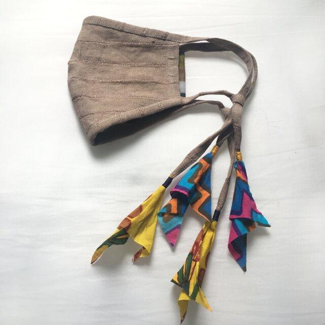 しましまリネンのリネンマスク(木版プリント)の画像1枚目