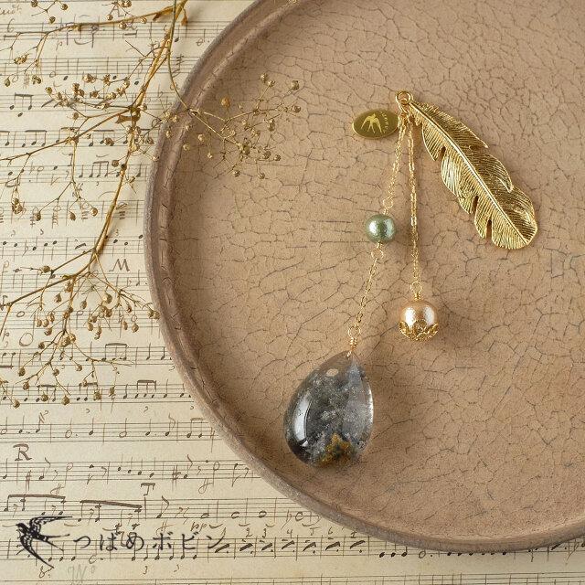 天然石とパールの帯飾り《ガーデンクォーツ/B》【送料無料】の画像1枚目