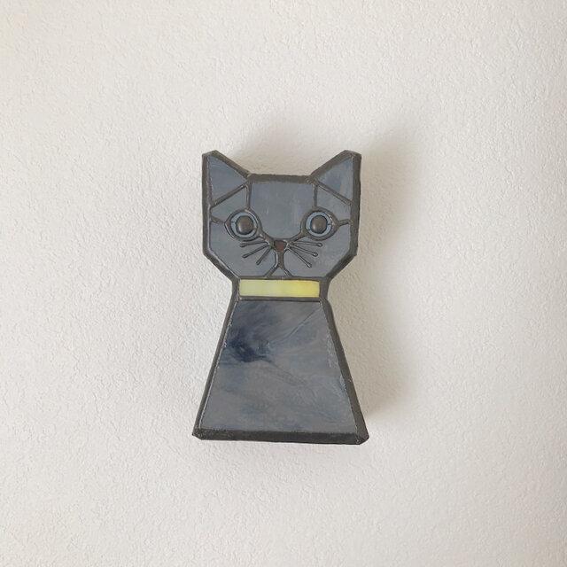 壁掛けオブジェ グレーの猫の画像1枚目