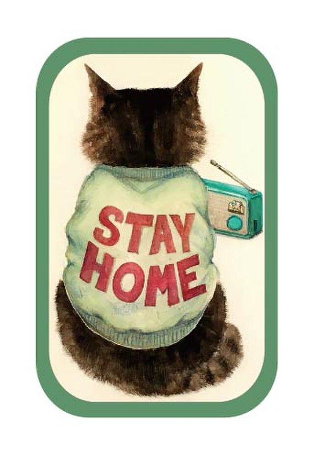 長方形缶バッチ「STAY HOME」の画像1枚目