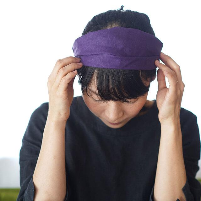 【オーベルジーヌ/シンプルバンド】リネン ヘアバンド ターバン ヘアアクセサリー カチューム / z010b-obj2の画像1枚目