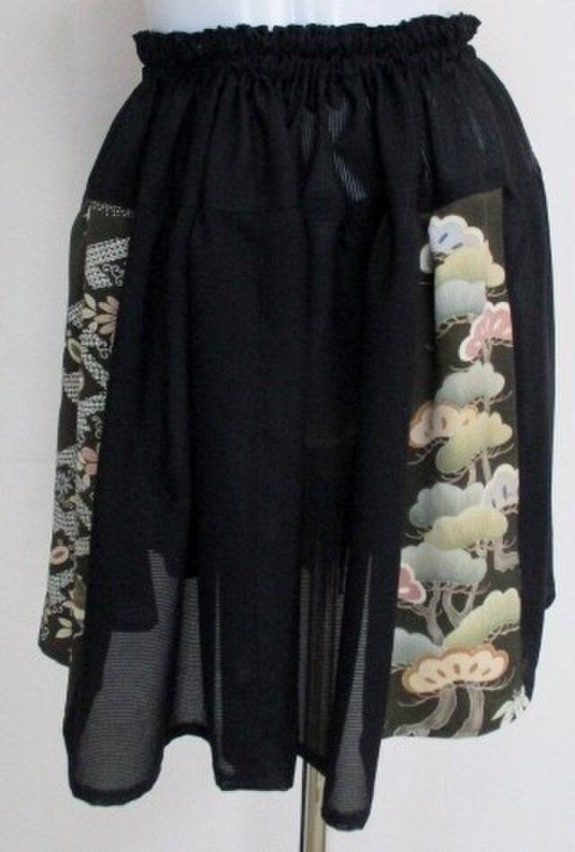 5090 絽と色留袖で作ったミニスカート #送料無料の画像1枚目