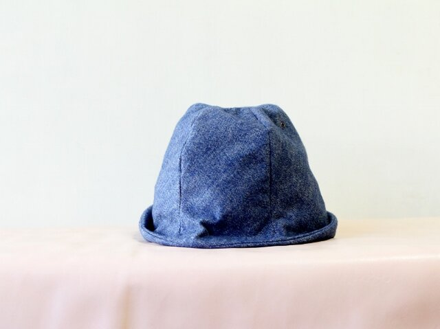 FUWA KIMOU HELMA HAT 杢調フランネルコットン*ブルー【M59】の画像1枚目