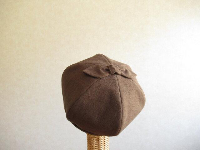 てっぺんにリボンのベレー帽 コットンリネン ブラウンの画像1枚目