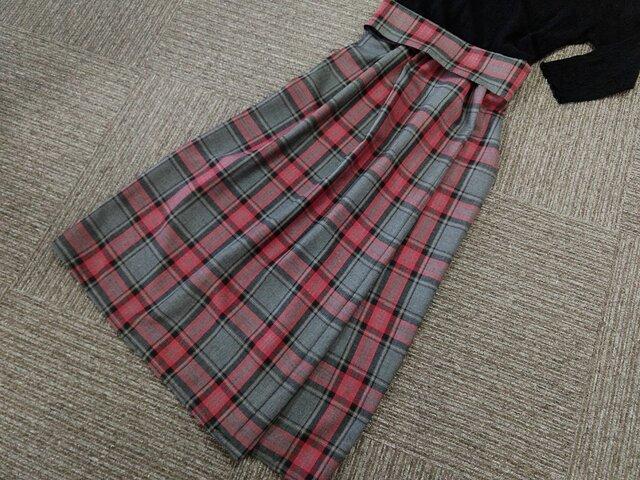★85㎝まで★一点もの受注製作★赤系チェックのギャザー・スカート★の画像1枚目