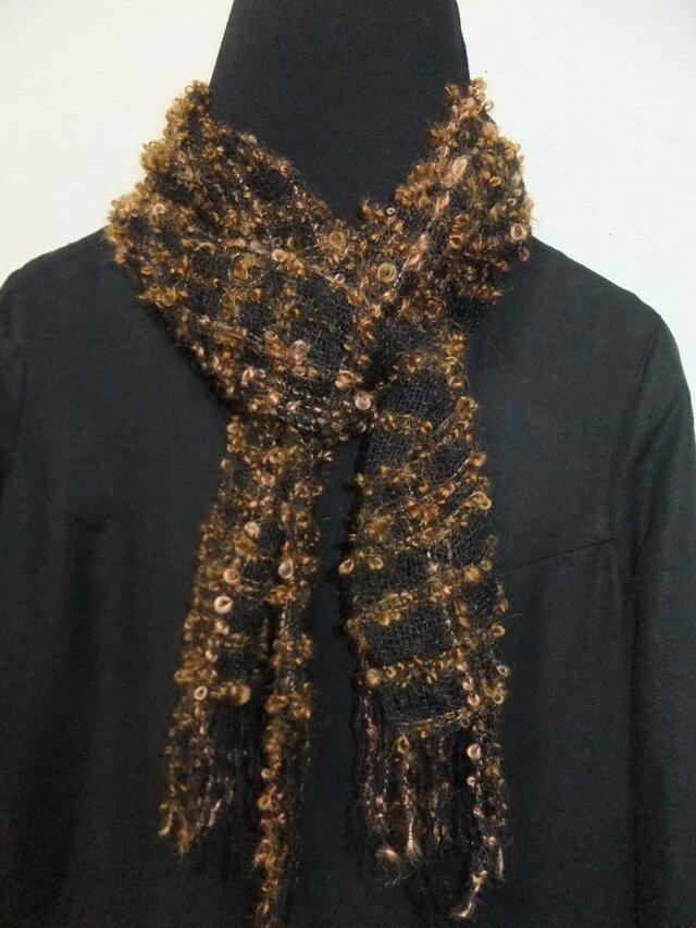 手織りマフラー ループ糸 の画像1枚目
