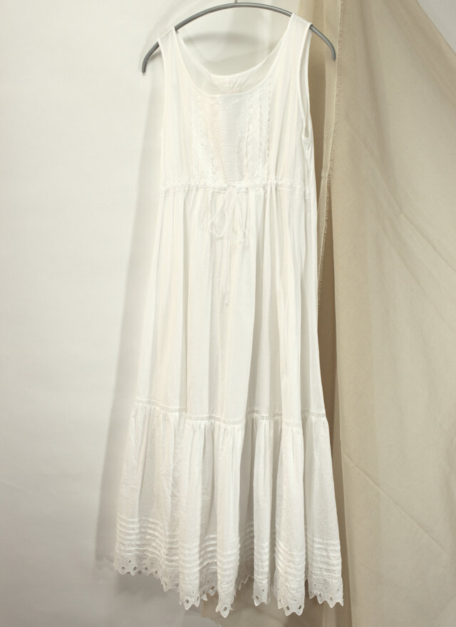 綿レースのシュミーズドレス 白118の画像1枚目