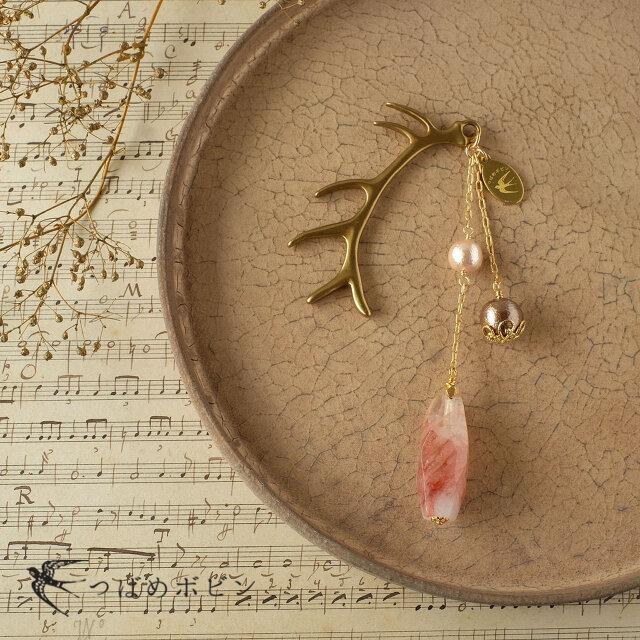 天然石とパールの帯飾り《レッドヘマタイトクォーツ/A》【送料無料】の画像1枚目