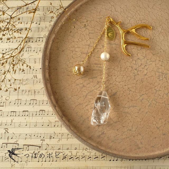 天然石とパールの帯飾り《水晶/H》【送料無料】の画像1枚目