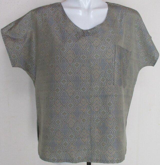 5097 色大島紬の着物で作ったTシャツ #送料無料の画像1枚目