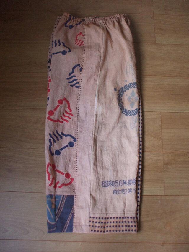 日本手拭の柿渋染めワイドパンツ 木綿の画像1枚目