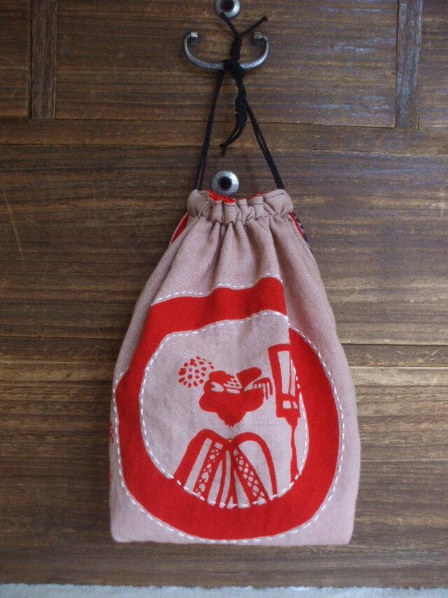京舞妓の文字入り 柿渋染め巾着 木綿の画像1枚目
