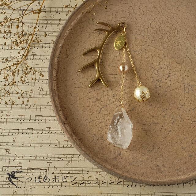 天然石とパールの帯飾り《水晶/G》【送料無料】の画像1枚目