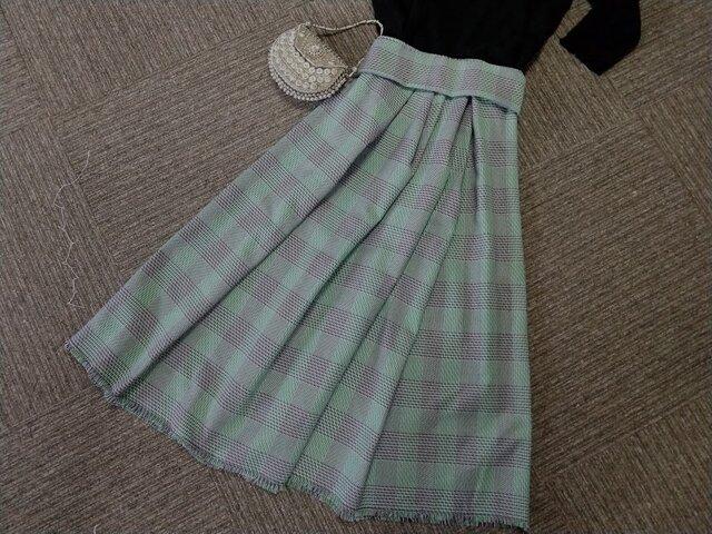 ★80 ㎝まで★受注製作★綿ツィード★アップル・グリーン系チェックのギャザー・スカート★の画像1枚目