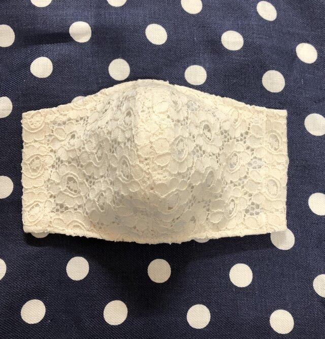 ☆ 布マスク 生成り花柄刺繍&抗菌防臭加工(ディスビス)ダブルガーゼ&不織布 3枚重ね立体ガーゼマスク ♪の画像1枚目