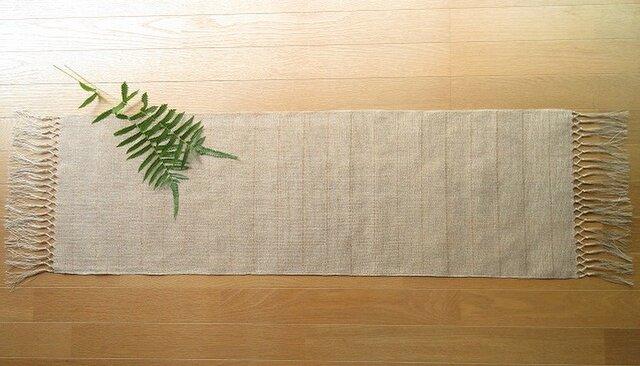 【受注制作】生成りの麻の手織りテーブルセンター 二段結びの画像1枚目