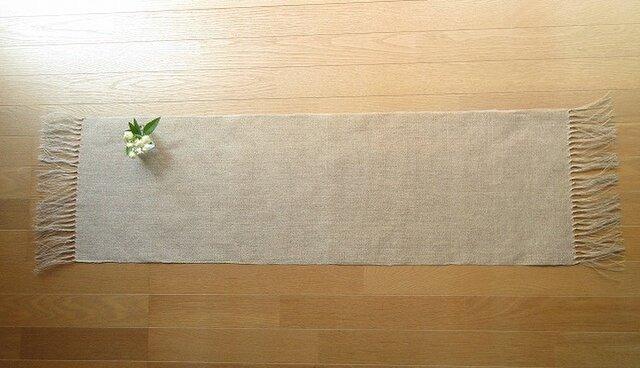 6)生成りの麻の手織りテーブルセンターの画像1枚目