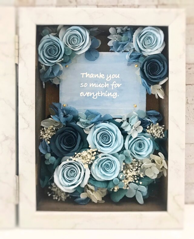 Clayrose写真フレームボックス•クリアプレート(ブルー系)の画像1枚目