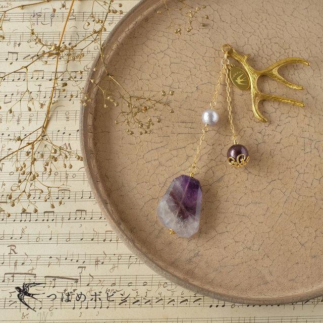 天然石とパールの帯飾り《ケープアメシスト/02》【送料無料】の画像1枚目