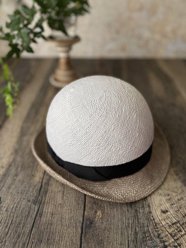 【即納】夏帽 combi white+gray#1の画像1枚目