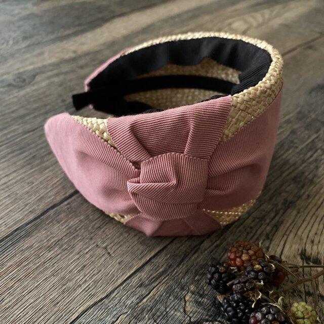 【即納】ribbon Alice band/rose pinkの画像1枚目