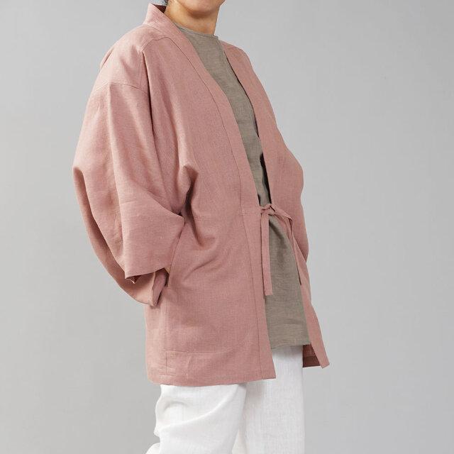 【wafu】中厚リネン羽織 男女兼用 和装 和服 リネン着物 kimono/浅緋色(あさあけいろ) h037h-asa2の画像1枚目