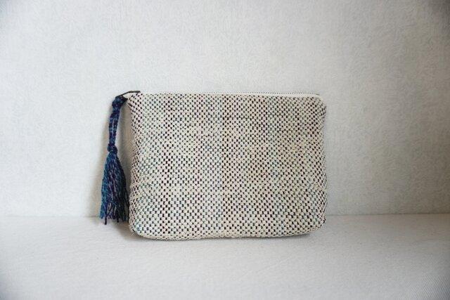 裂き織りのポーチ  ミルクベージュの画像1枚目