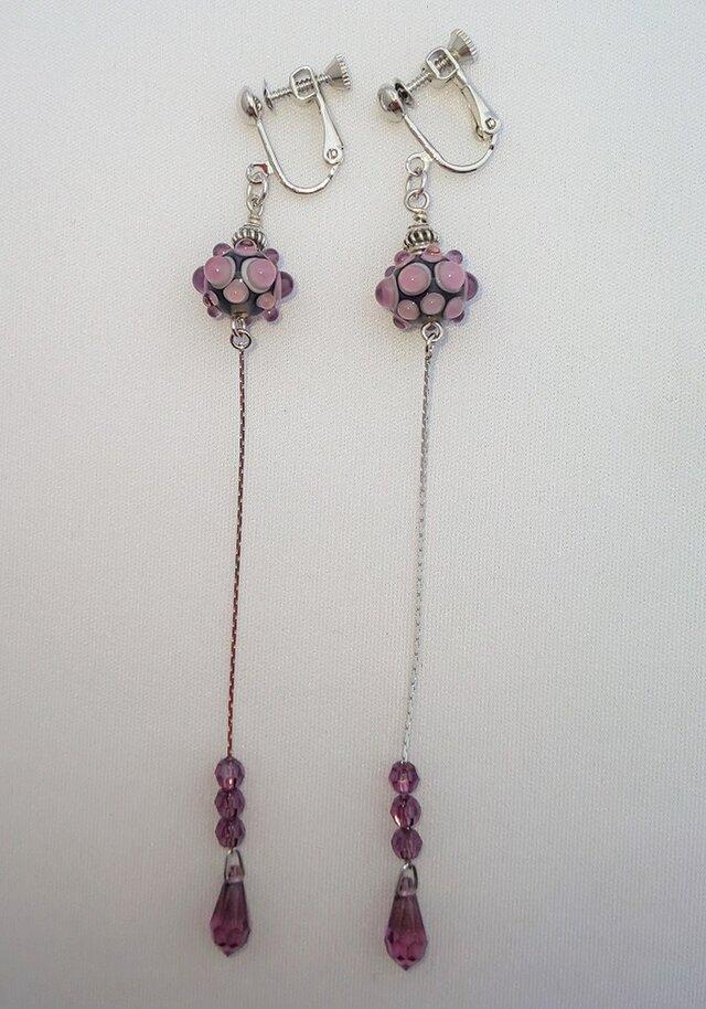 【ピアス変更可】紫ロングイヤリングの画像1枚目