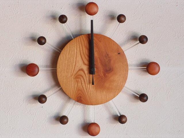 無垢の木の電波掛け時計 けやき 0079の画像1枚目