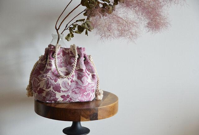 新作 ボタニカル花柄ハイクラスジャガード マリンバッグ ボルドーの画像1枚目