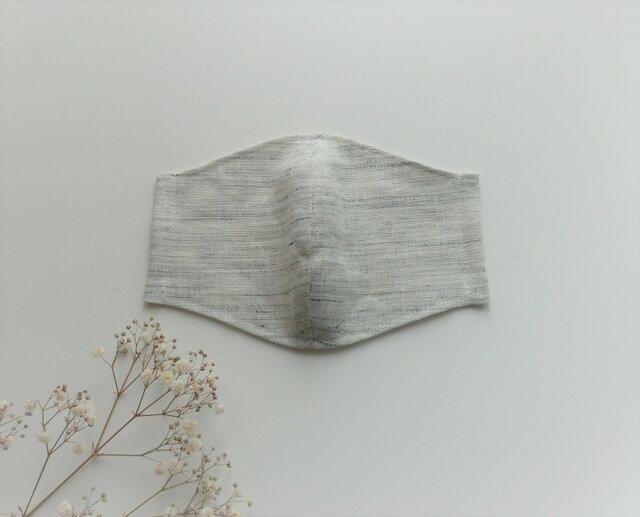 秋冬スタイル☆リネンのナチュラルマスク (杢ライトグレー)の画像1枚目