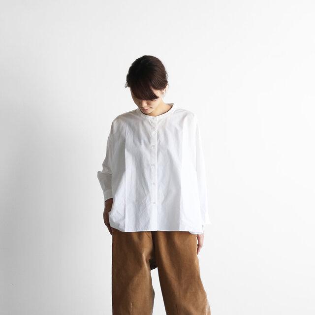 オーガニックコットンバンドカラーワイドブラウス(白)【レディス】の画像1枚目