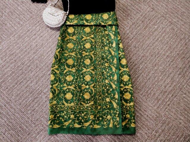 ★74㎝まで★伝統的な老舗のデザイン★金x緑★綿100★巻きスカート風ギャザースカート★の画像1枚目