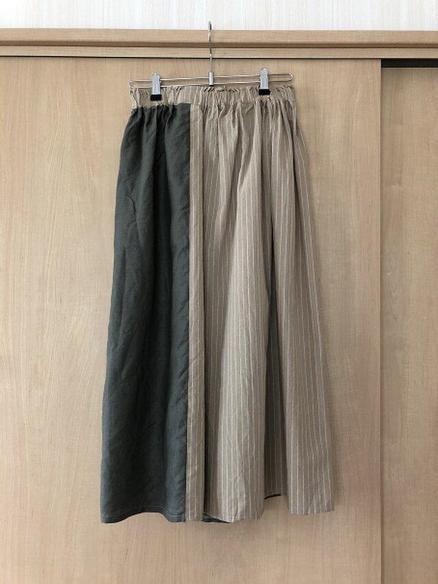 リネンとストライプコットンをパッチしたスカート M~Lの画像1枚目