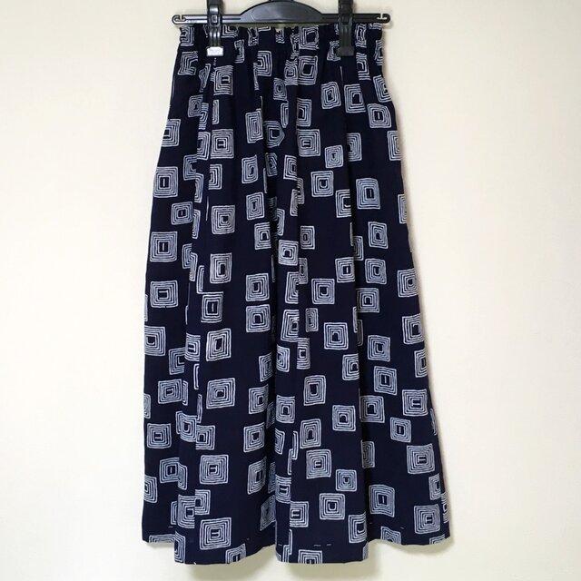 浴衣リメイク M ギャザースカート  着物 コットン 浴衣スカートの画像1枚目