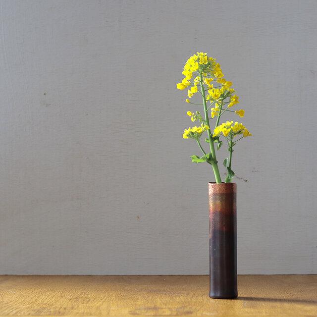 小花瓶 銅黒染の画像1枚目