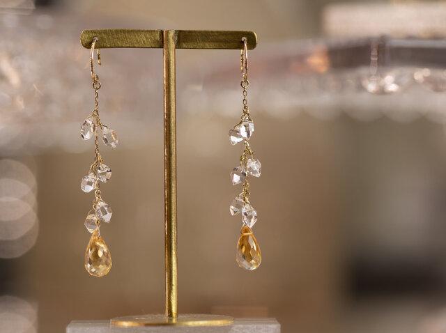 天然石のロングピアス ハーキマーダイヤモンド x シトリン x 18金YGの画像1枚目