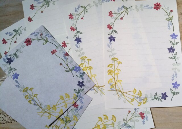消しゴム版画「レターセット(縦型封筒)(秋の草花)」の画像1枚目
