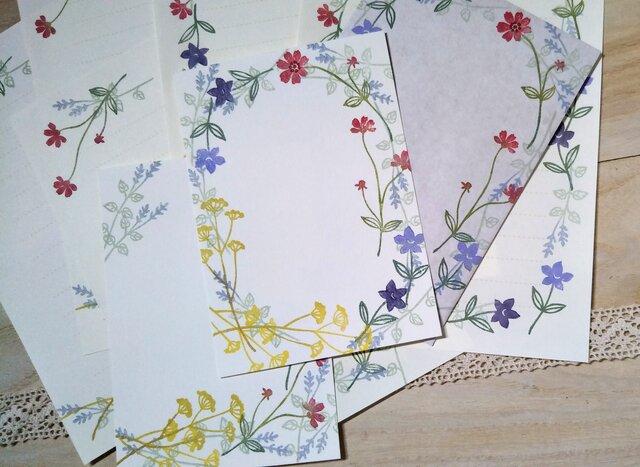 消しゴム版画「レターセット(洋2サイズ縦型封筒)・ポストカードのセット(秋の草花)」の画像1枚目