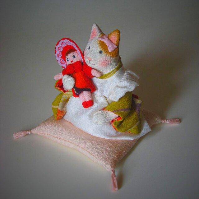 縮緬福猫 お人形の画像1枚目