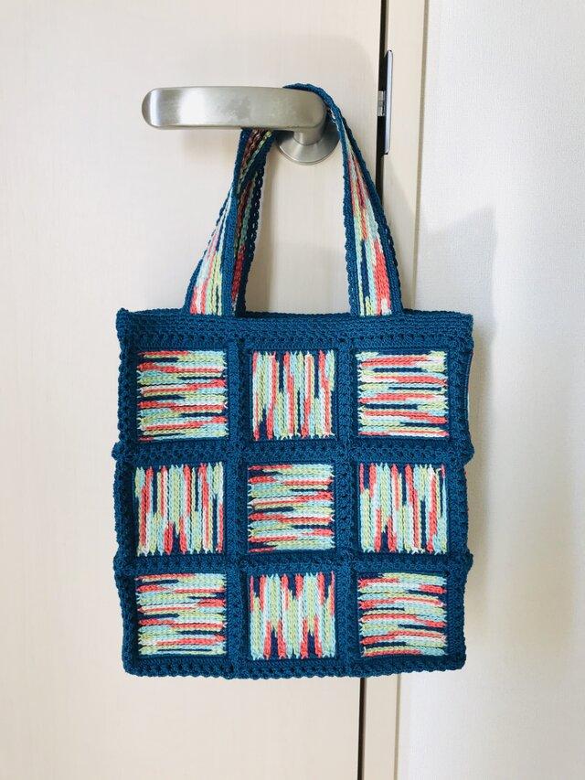 ネット編みのグラデーションバッグの画像1枚目