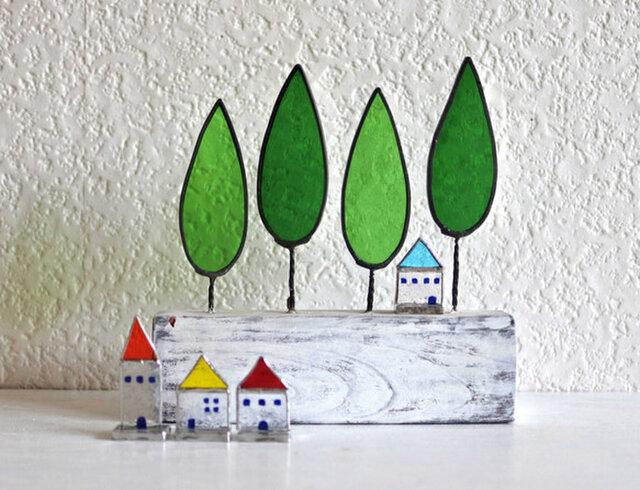 ステンドグラスの小さなお家 青い屋根のお家の画像1枚目