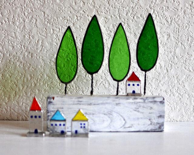 ステンドグラスの小さなお家 赤い屋根のお家の画像1枚目